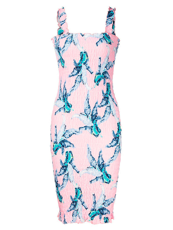 'Ananya' Leaf Print Ruched Strap Dress