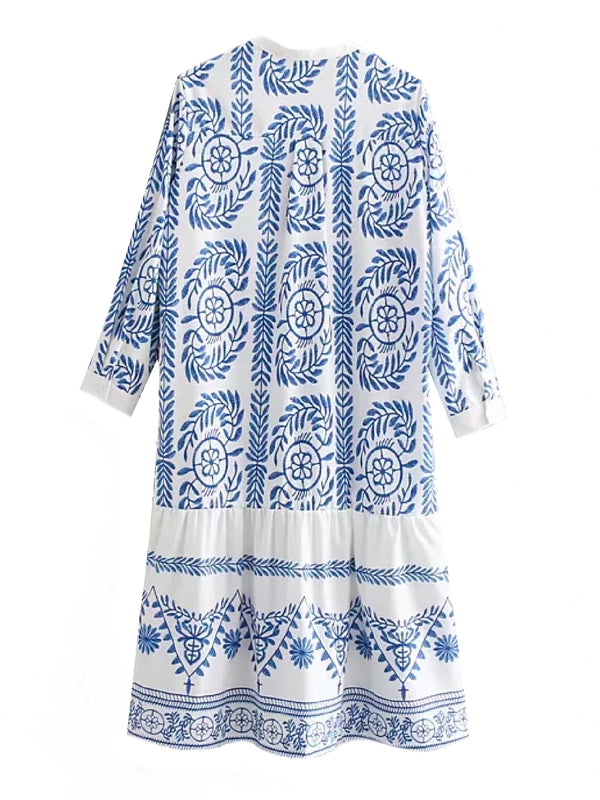 'Mon' Bohemian Printed Embroidery Button Down Dress