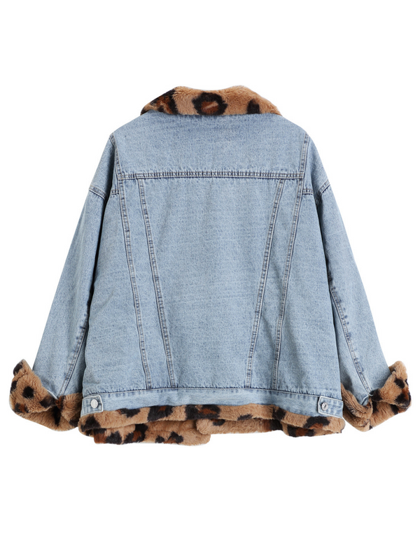 'Motty' Two-way Leopard Fleece Denim Jacket