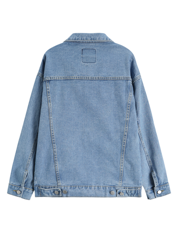 'Kaki' Light Wash BF Oversized Denim Jacket