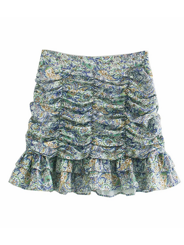 'Carrie' Floral Cinched Ruffle Mini Skirt