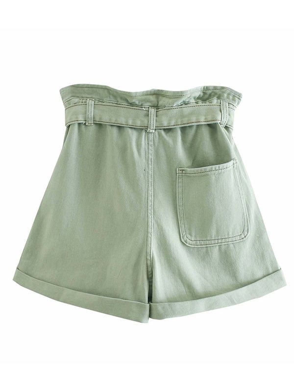 'Johanna' 4 Buttons Paper Bag Shorts