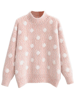'Layla' Pink Dotted Print Sweater