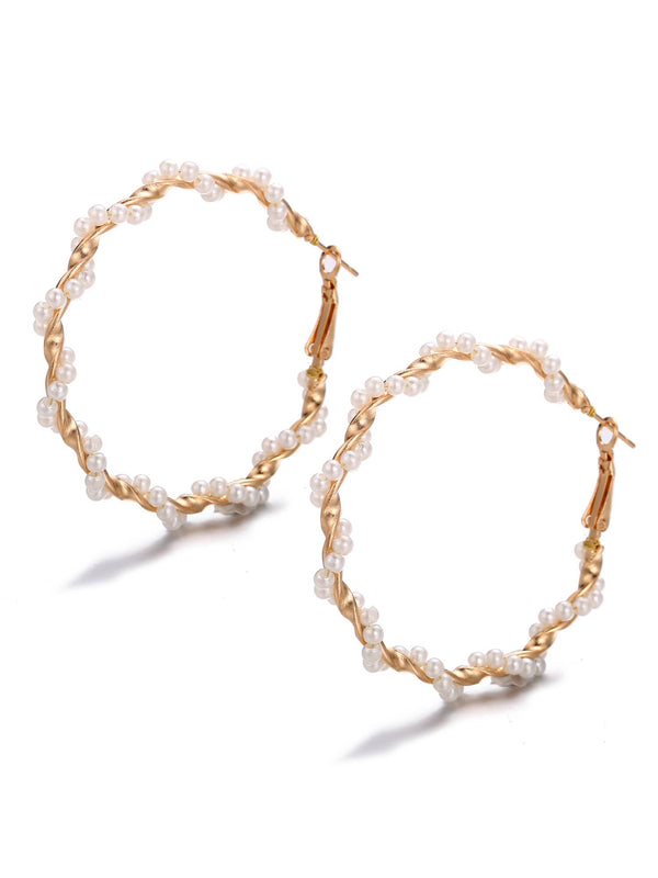 'Kimberly' Pearl Hoop Earrings