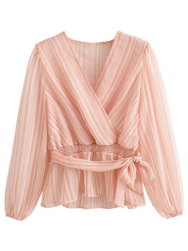 'Regina' Striped V-neck Tied Waist Blouse (2 Colors)
