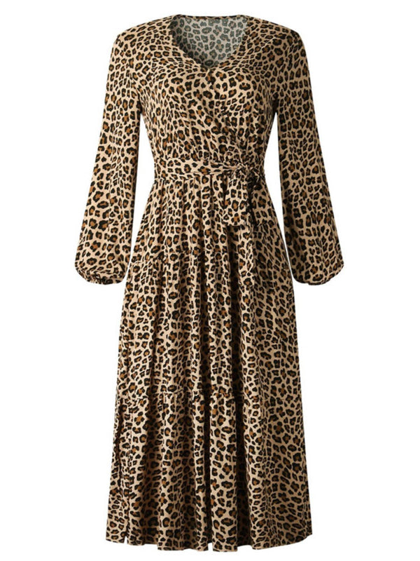 'Clara' Animal Print Tied Waist Midi Dress (2 Colors)