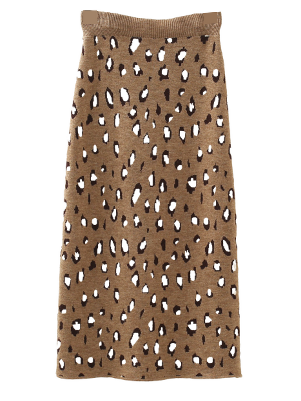 'Yannis' Leopard Print Midi Knitted Skirt (4 Colors)