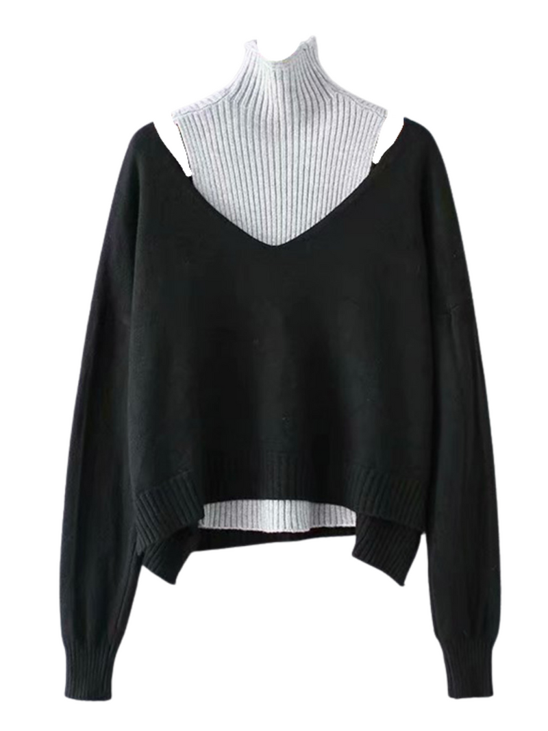 'Emie' High-neck Two-piece Sweater (3 Colors)