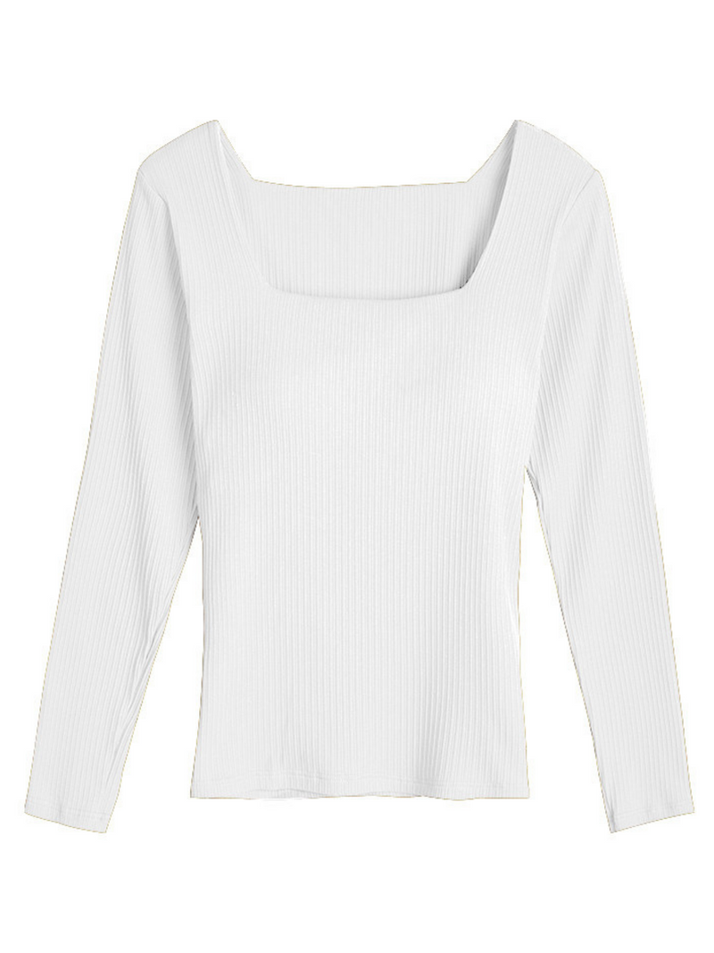'Jess' Square Neck Padded Knitted Top (4 Colors)