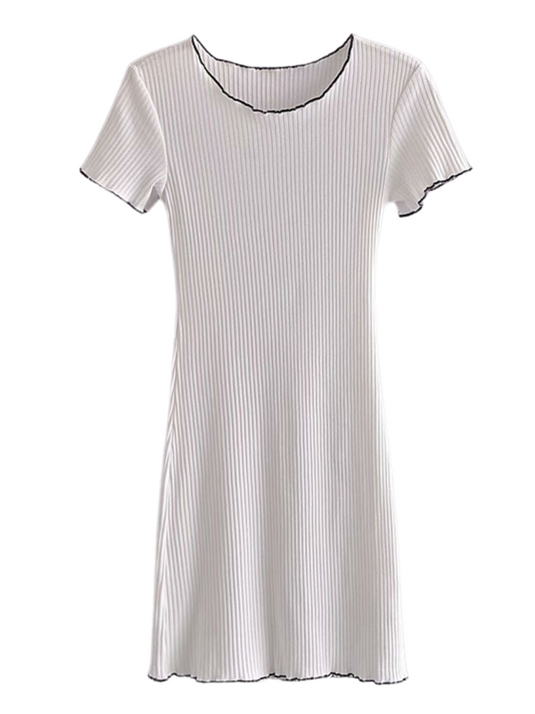 'Gloria' Contrast Line Ribbed Dress (2 Colors)