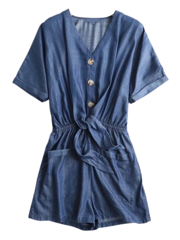'Patsy' Chambray Belted Buttoned Romper (2 Colors)
