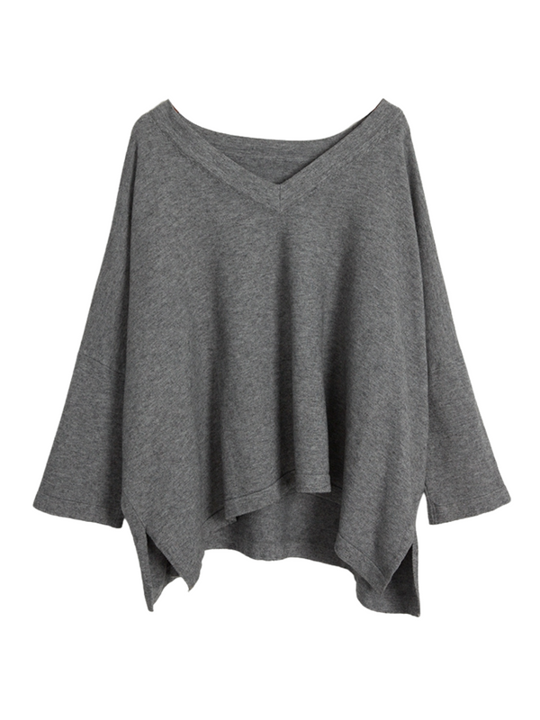 'Fish' V-neck Slouchy Sweater (4 Colors)