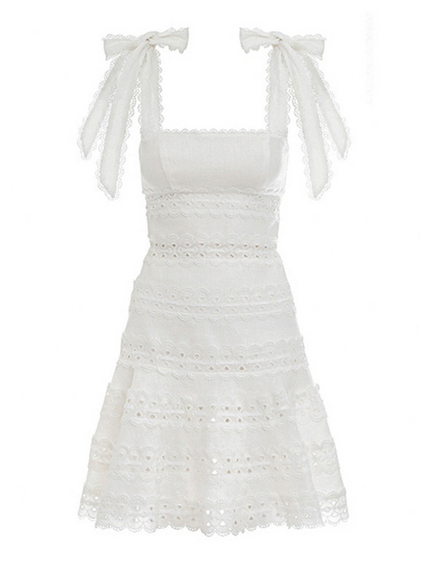 'Dolly' Crochet Tied Straps Dress (3 Colors)