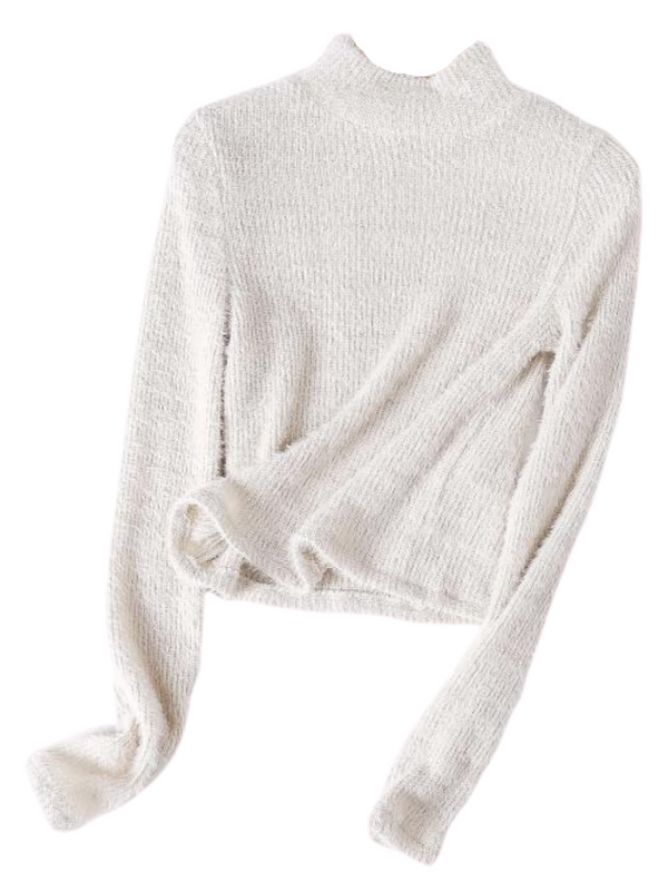 'Vanessa' High-neck Fuzzy Cropped Sweater (3 Colors)
