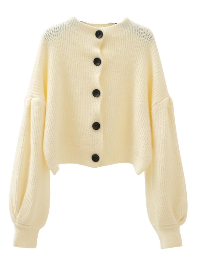 'Suzu' Buttoned Balloon Sleeves Sweater (3 Colors)