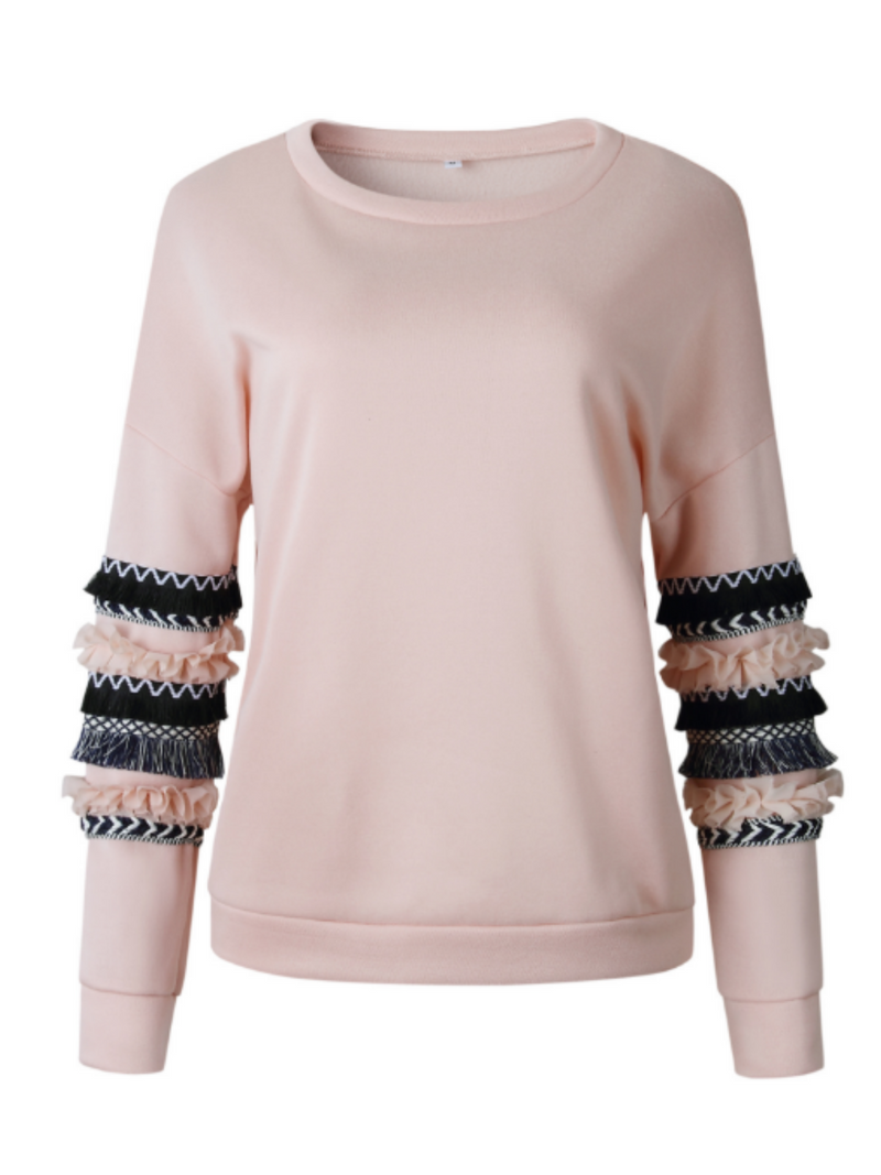 'Whitney' Pattern Ruffled Sleeves Sweater (3 Colors)