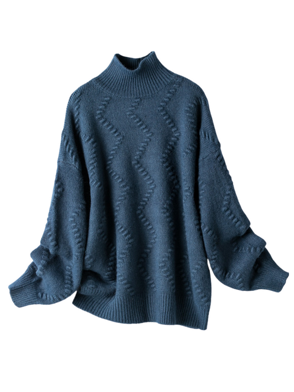 'Hertha' Wave Pattern Knitted Funnel-neck Sweater (3 Colors)
