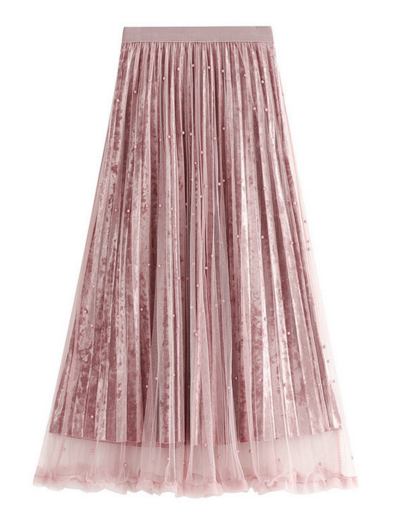 'Kristy' Velvet Pearl Tulle Midi Skirt (4 Colors)