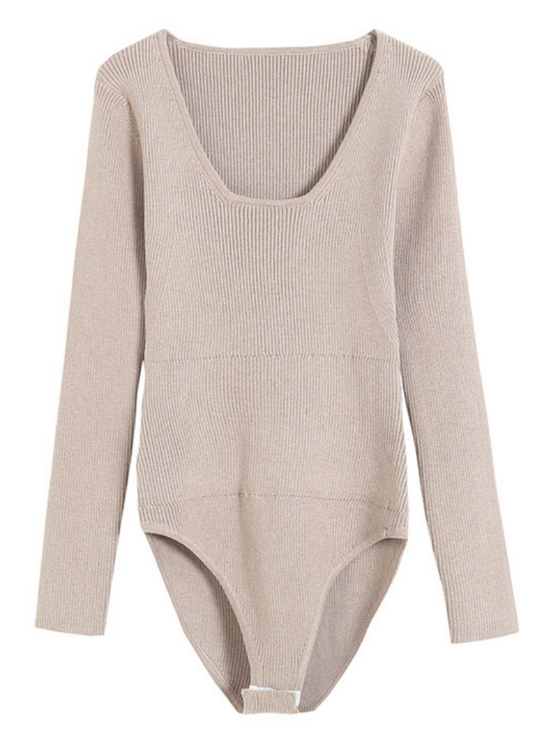 'Revee' Square-neck Knitted Bodysuit (2 Colors)
