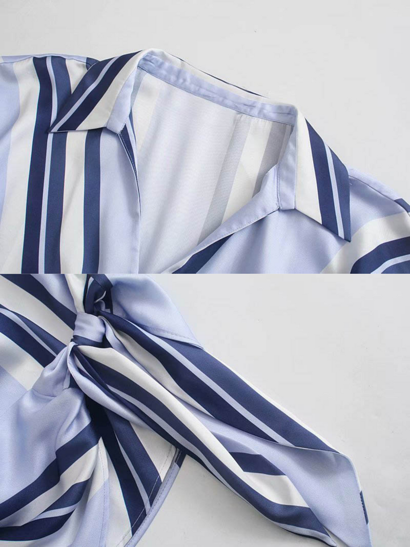 'Aries' Striped Wrap Tied Top