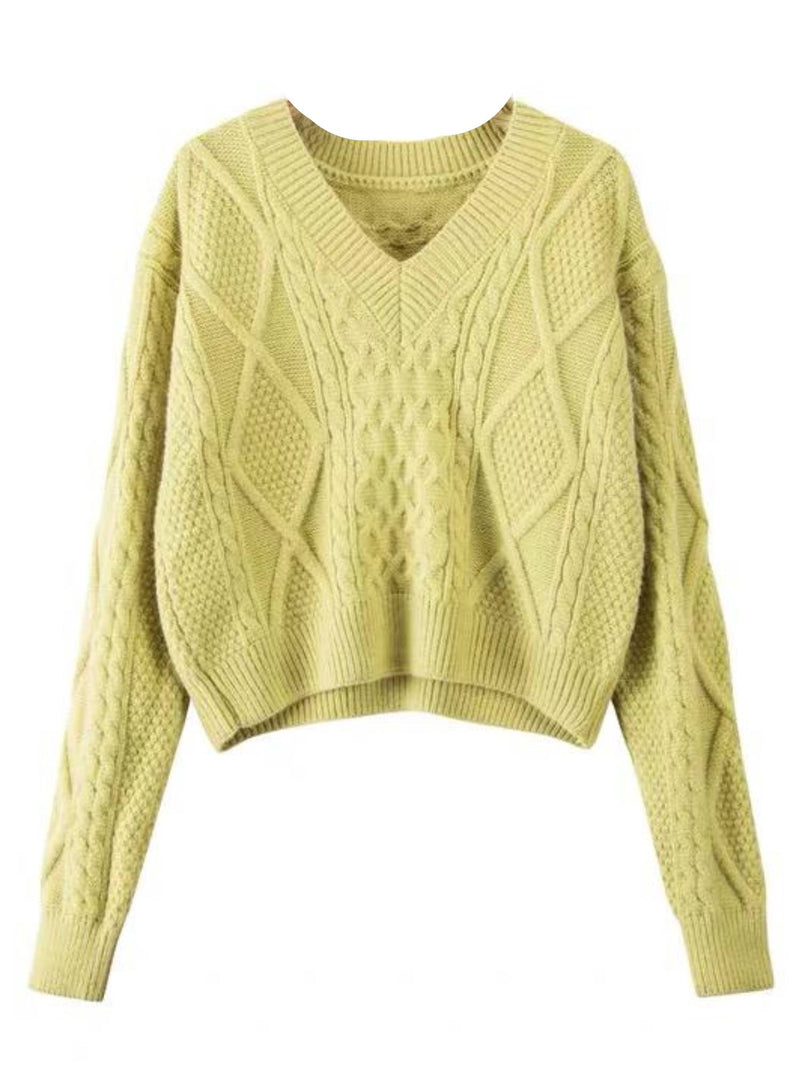 'Kara' V-Neck Cable Knit Sweater (3 Colors)