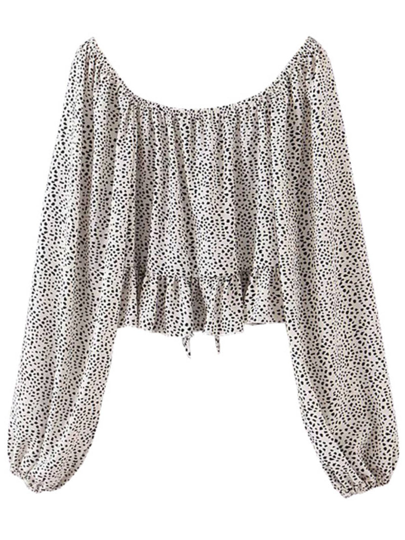 'Olida' Spotted Front Tied Ruffled Blouse