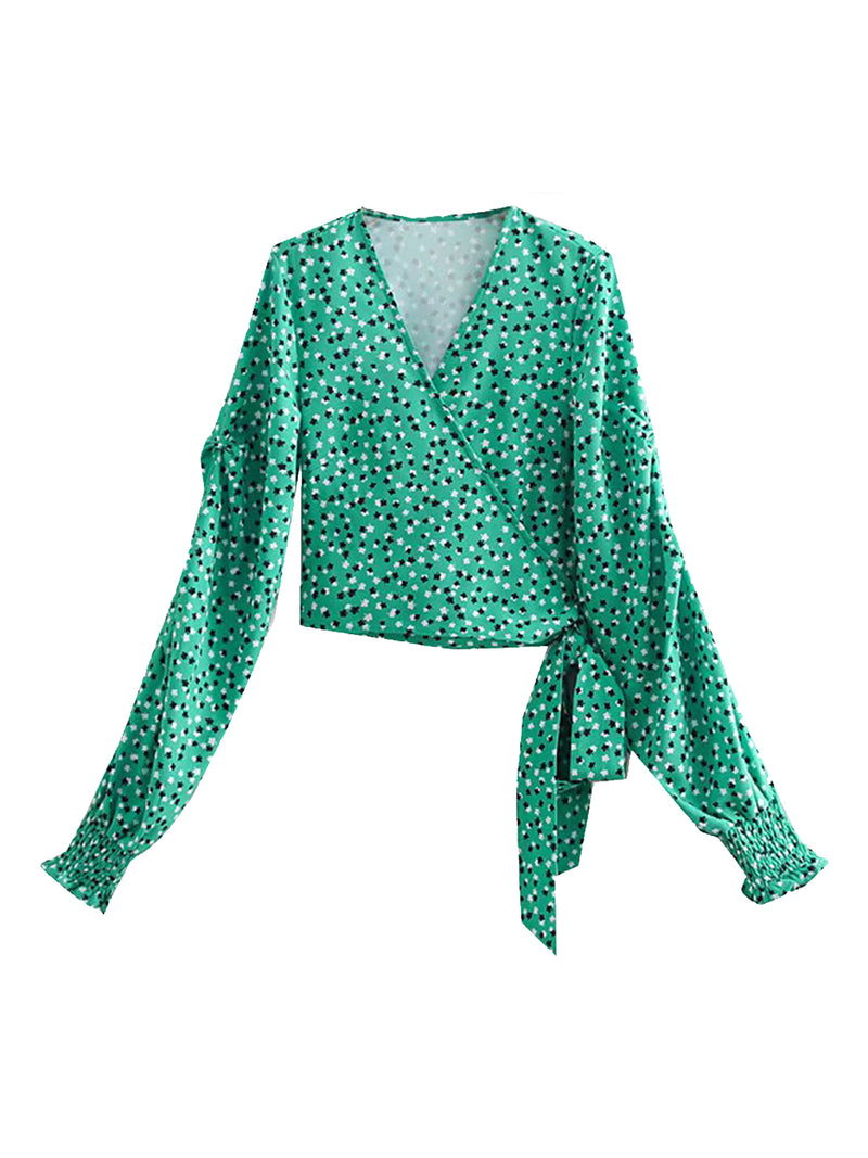 'Davina' Floral Cropped Wrap Blouse (2 Colors)