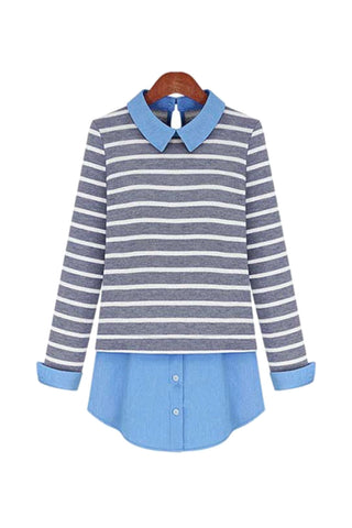 { 2 colors } 'Sylvie' Stripe Double-Layer Shirt Dress - Goodnight Macaroon