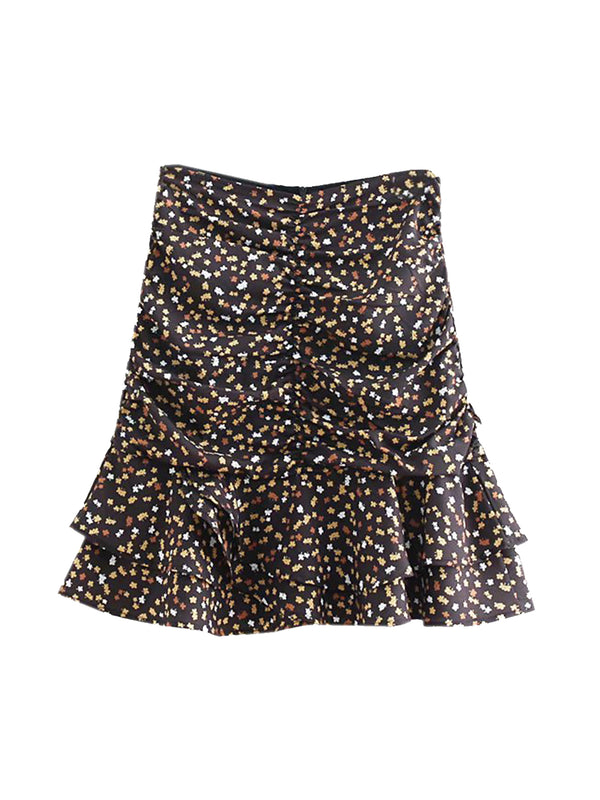 'Remy' Floral Ruched Layer Flare Mini Skirt (2 Colors)