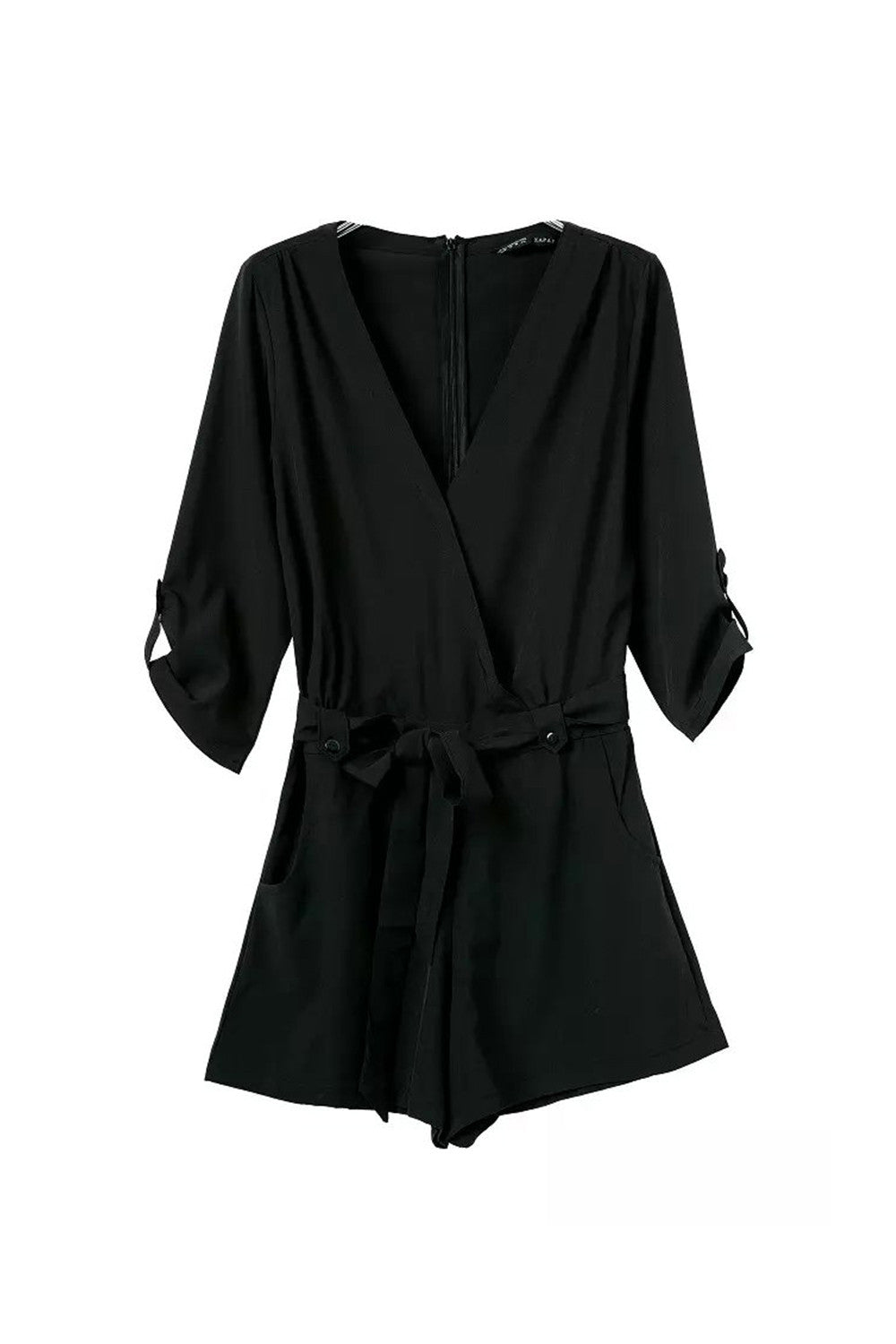 'Mary' Black Criss Crop Wrap Front Playsuit Romper - Goodnight Macaroon