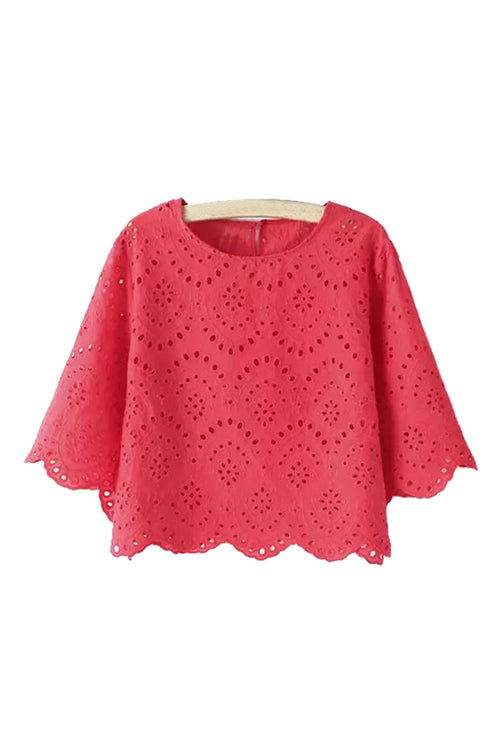Goodnight Macaroon Store Review 'Hudson' Eyelet Embroidered Scalloped Hem Crop Top