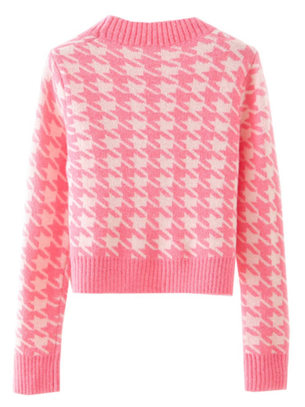 'Carla' Houndstooth Button Down Cardigan