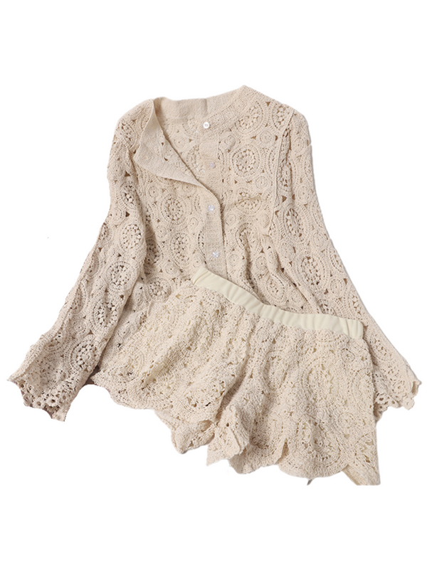 'Trinity' Lace Crochet Cardigan & Bottom Set (2 Colors)