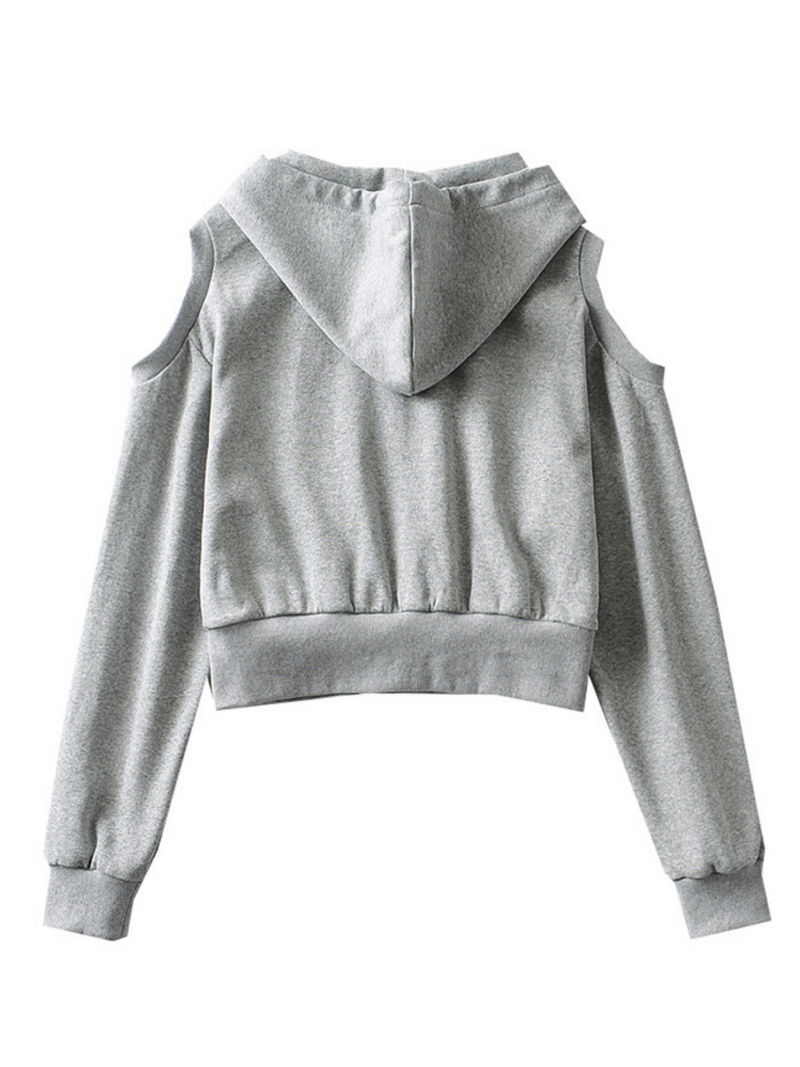'Jojo' Cold Shoulder Cropped Hoodie (3 Colors)
