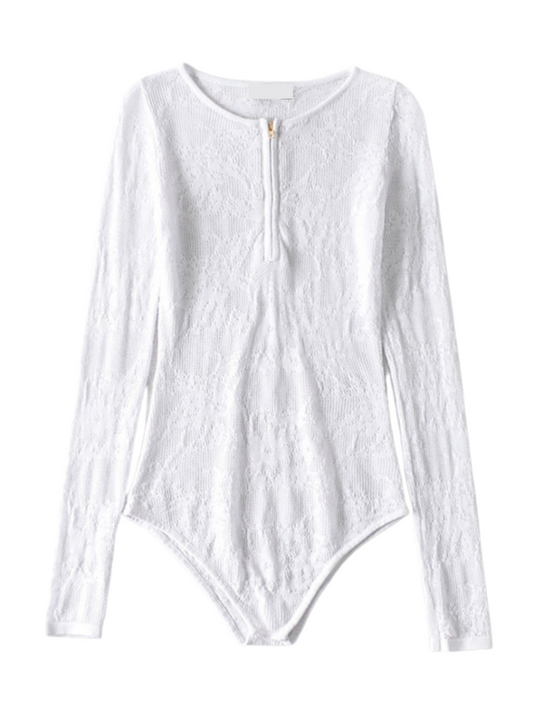 'Hemma' Zip-up Lace Knitted Bodysuit (4 Colors)