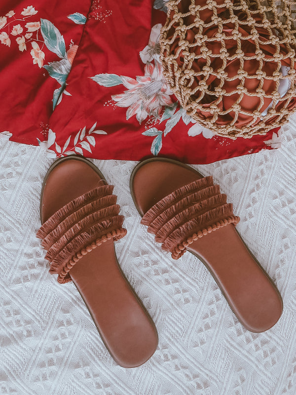 'Margrette' Tassel Layer Sandals Slides (2 Colors)