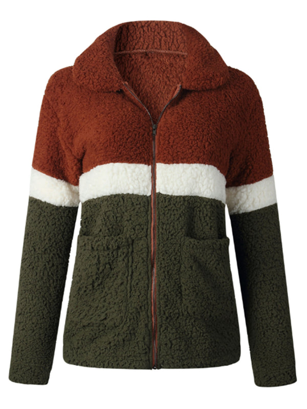 'Kris' Color Block Fleece Teddy Jacket (3 Colors)