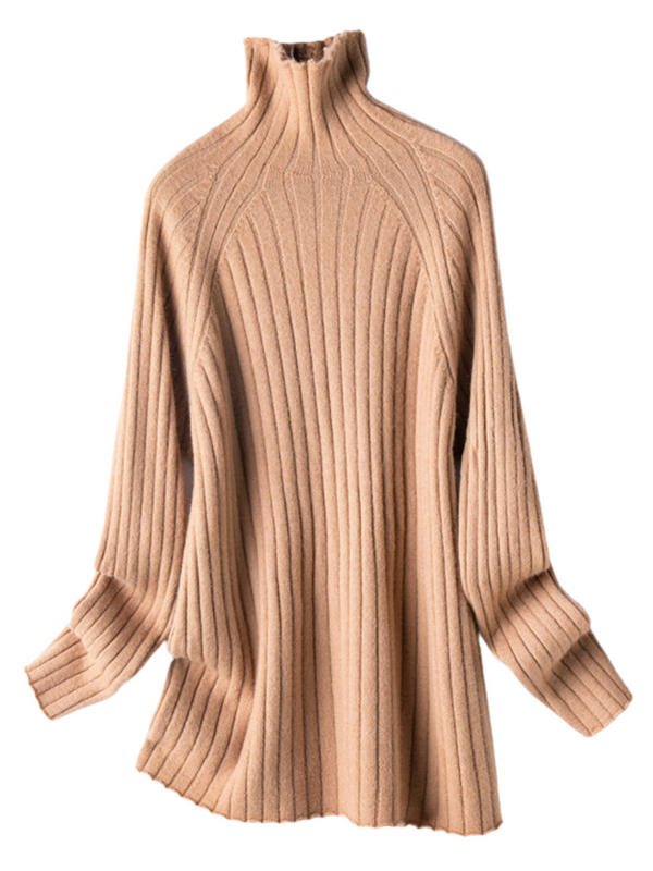 'Serini' High-neck Ribbed Long Sweater(3 Colors)