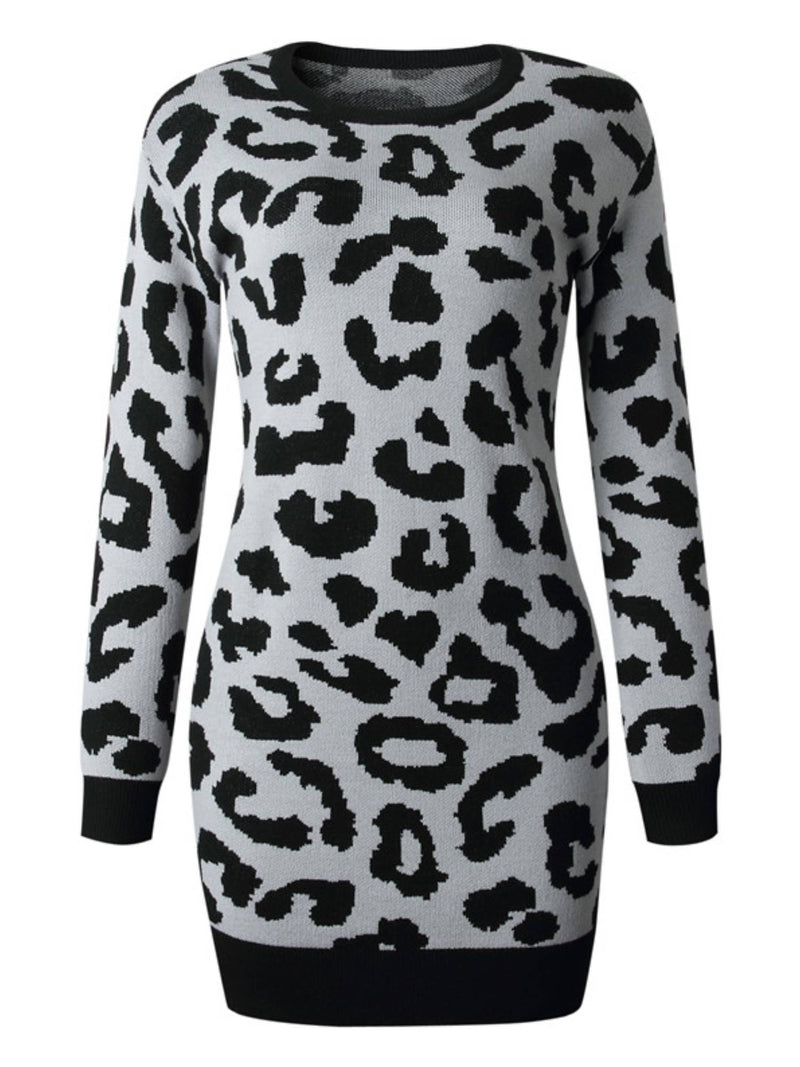 'Denise' Leopard Print Long Sweater Dress (4 colors)