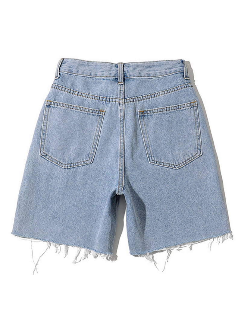 'Karina' Mid-length Distressed Denim Shorts (3 Colors)