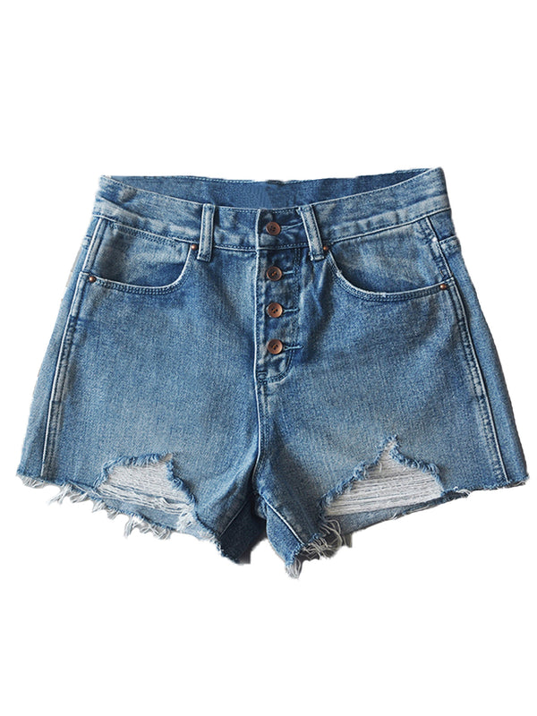 'Margot' 4 Buttons High Waisted Distressed Denim Shorts (4 Colors)