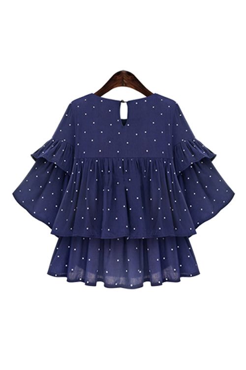 'Lucille' Blue Dotted Layered Sleeve Ruffle Top - Goodnight Macaroon