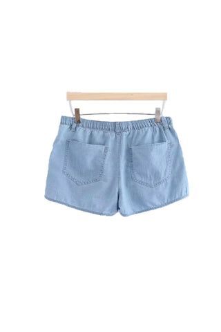 'Reese' Soft Cotton Dark Blue Chambray Shorts - Goodnight Macaroon