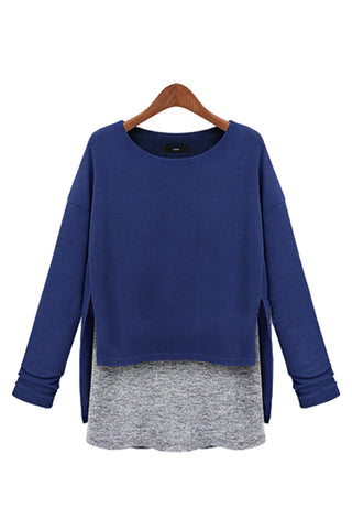 Blue Mock Layer Sweater