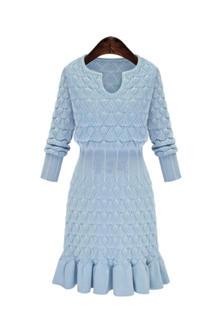 'Manon' Sky Blue Diamond Pattern Knitted Dress