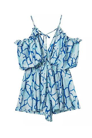 'Jamie' Blue Off the Shoulder Printed Romper - Goodnight Macaroon