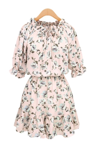 'Zoe' Banding Neckline Floral Skater Dress - Goodnight Macaroon