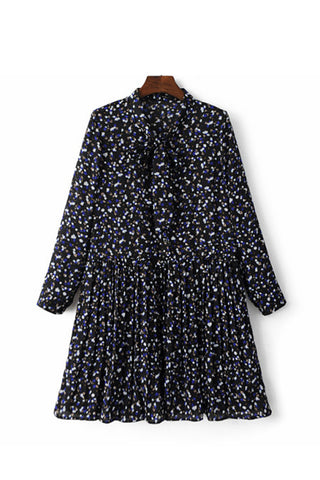 'Selena' Vintage Style Ribbon Tie Neck Floral Print Dress - Goodnight Macaroon