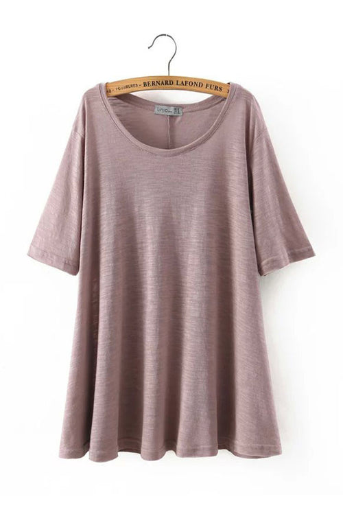 Goodnight Macaroon 'Leah' Scoop Neck Tee Dress