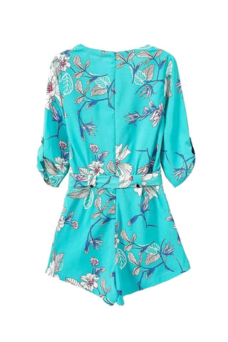 Goodnight Macaron 'Kunis' Plunged Floral Printed Turquoise Romper